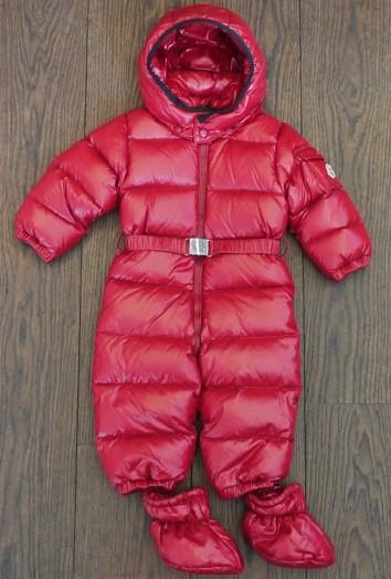 MONCLER ENFANT AMANDES  AW2014/2015 слитный пуховой комбинезон Красный