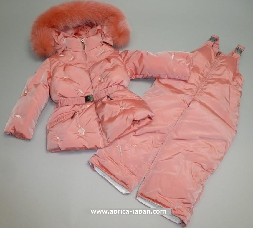 MANUDIECI пуховой комплект-куртка и штаны для девочки. Розовый
