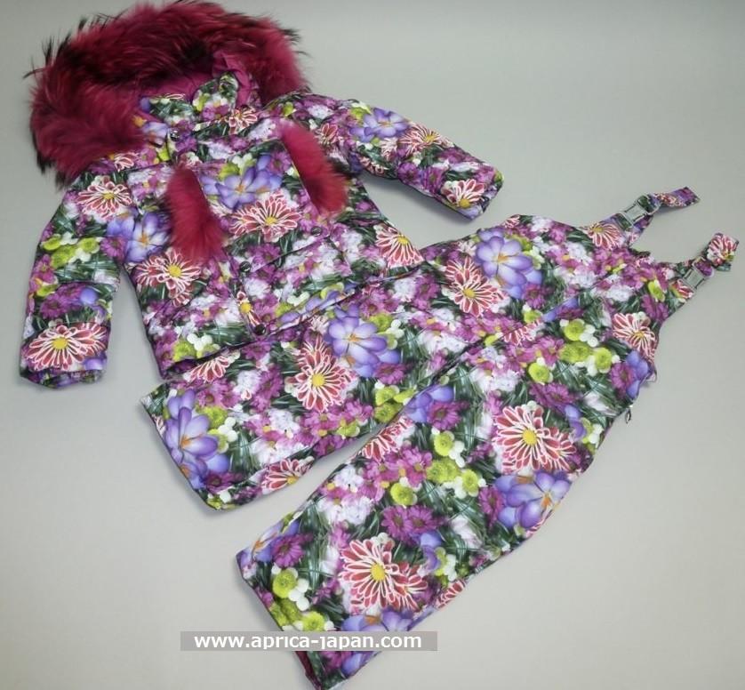 MANUDIECI пуховой комплект- куртка и штаны для девочки.  Цветы