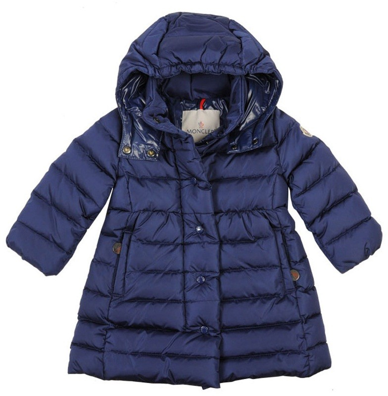 Moncler ENFANT Girls Down Padded Coat пуховое пальто на девочку 6/24 мес Синий