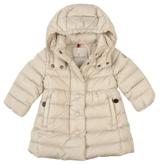 Moncler ENFANT Girls Padded Hooded Down Coat пуховое пальто для девочки 6 мес и 12 мес  Бежевый