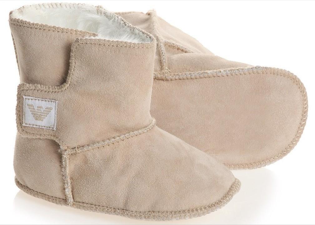 Armani Junior мутоновые сапожки для младенца 0/9 месяцев Бежевый