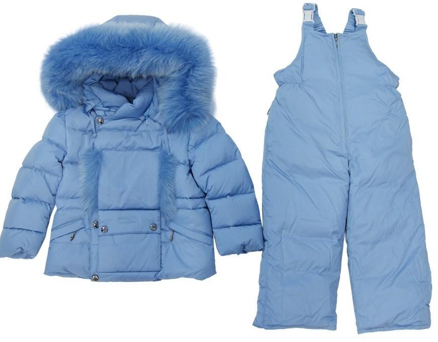 MANUDIECI пуховой комплект- куртка и штаны для девочки и мальчика. Размеры 3г/ 4г/ 5л/ 6л Голубой