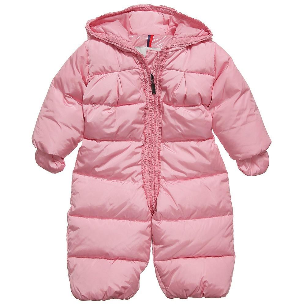 Moncler ENFANT слитный пуховой комбинезон на девочку. 3 мес/ 3 лет Розовый